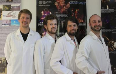 This image shows the authors from left to right: Emanuel Redl, Tim Wollesen, Andreas Wanninger and Maik Scherholz (Department of Integrative Zoology, University of Vienna; not shown: Christiane Todt, University Museum Bergen, Norway). Credit: Copyright: Andreas Wanninger
