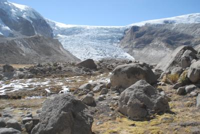 A Dartmouth-led team studying Qori Kalis, the largest glacier emerging from Peru's Quelccaya Ice Cap, found that temperature, not snowfall, has been driving the fluctuating size of Quelccaya, the largest ice mass in the tropics. Credit: Dartmouth College